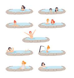 People enjoying outdoor thermal spring set men vector