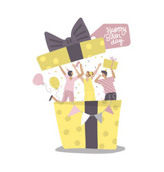 people jumping out gift box at birthday party vector image