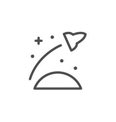 Rocket in orbit line outline icon vector