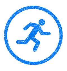 Running man rounded grainy icon vector