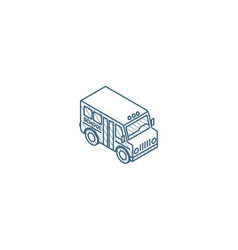 school bus isometric icon 3d line art technical vector image