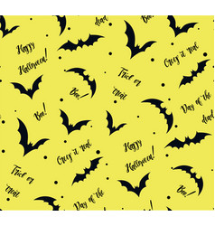 seamless pattern of bat on yellow black vector image