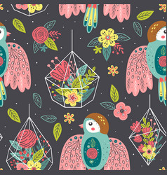 seamless pattern with birds and floral bouquets vector image