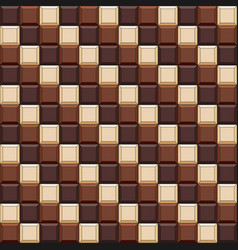 Seamless pattern with chocolate cubes tiles vector