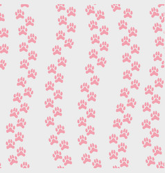 seamless pattern with pink animals footprint vector image