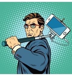 Selfie man blogger smartphone vector image