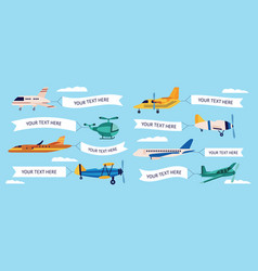 set cartoon airplanes with empty banners vector image