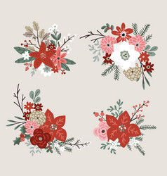 set christmas bouquets made fir spruce oak vector image