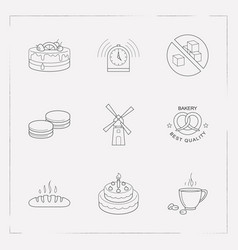 Set of bakery icons line style symbols with mill vector