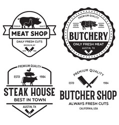 Set of butcher shop and butchery hand written vector