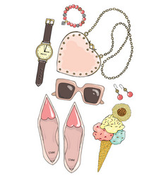 set of female accessories in pink color vector image