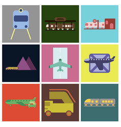Set of icons in flat design freight and passenger vector