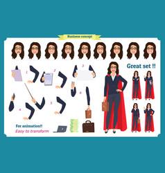 Set of super businesswoman character design vector