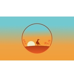 Silhouette of one bird on the hill scenery vector
