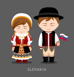 slovaks in national dress with a flag vector image