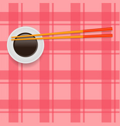 Soy sauce and traditional colored asian chopsticks vector