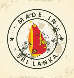 Stamp with map flag of Sri Lanka vector image