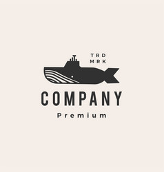 submarine whale hipster vintage logo icon vector image
