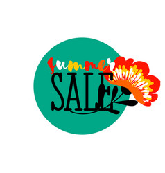 summer sale badge with red flower and text vector image