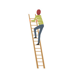 Teenage boy climbing up step ladder vector