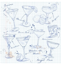 The Unforgettables Cocktail Set on a notebook page vector