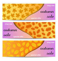 three autumn sale banners with yellow leaves vector image