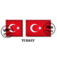 turkey or turkish flag pattern postage stamp vector image