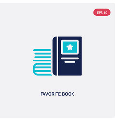 Two color favorite book icon from education vector