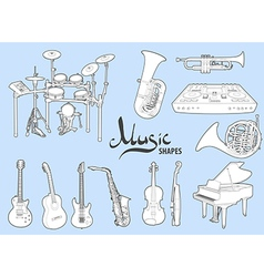 Various musical instruments vector