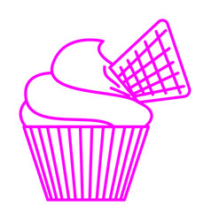 waffle cupcake vector image
