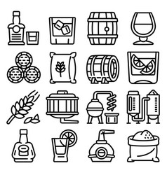 Whisky icons set outline style vector