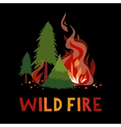 Wild fire in a forest vector