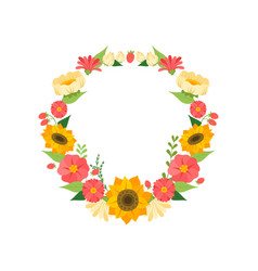 wreath with bright blooming flowers floral round vector image