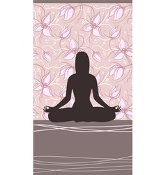 Yoga Card with Meditating Woman vector