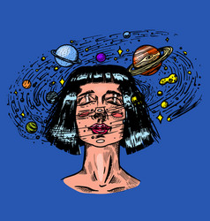 young woman with planets double exposure future vector image