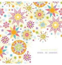 Colorful Christmas Stars Corner Decor Pattern vector image