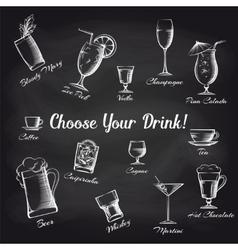 Hand drawn cocktails set on chalkboard vector image