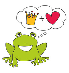 prince or princess green frog dreaming about crown vector image