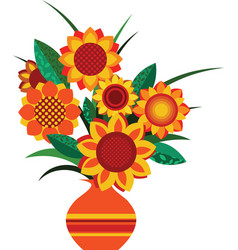 Retro colourful vase with sunflowers vector