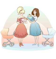 two women with babies vector image