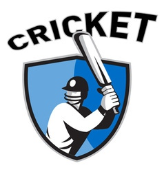 cricket sports shield vector image vector image