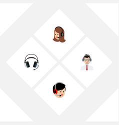 Flat icon telemarketing set of help operator vector