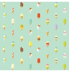 Flat seamless pattern with ice creams vector image
