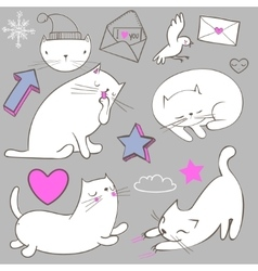 set with doodle white cat vector image