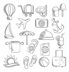 Travel journey and leisure sketch icons vector