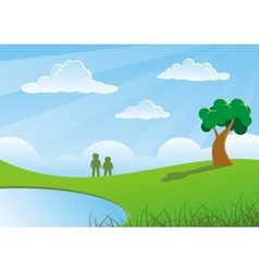 Two people and tree vector image