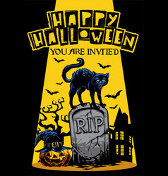 halloween invitation design with cat standing on vector image