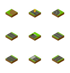 Isometric road set of single-lane strip flat and vector