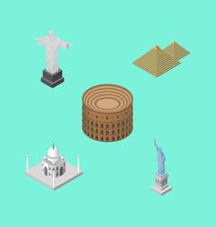 isometric travel set of india mosque rio new vector image