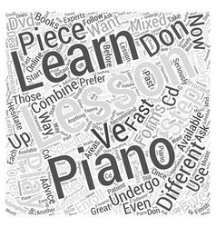 learning to play the piano Word Cloud Concept vector image